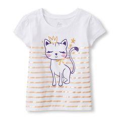 Baby Girls Toddler Short Sleeve Princess Cat Glitter Graphic Tee - White T-Shirt - The Children's Place