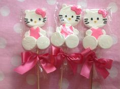 Hello kitty marshmallow pop by Marshmallowfavors on Etsy, $4.00