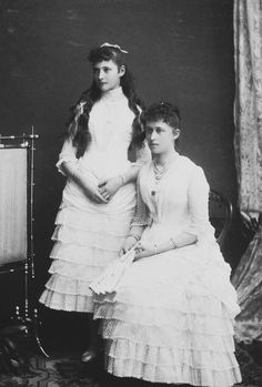 Princess Irene and Princess Alix of Hesse, Osborne 23rd July 1885 [in Portraits of Royal Children Vol.34 1885-1886] | Royal Collection Trust