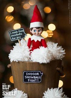 DIY Snowball Fight - Elf On The Shelf Ideas - Photos