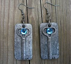 Oxidized key polymer clay earrings. $10.00, via Etsy.