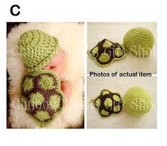 Amazon.com: Gem Baby Newborn Boy Girl Cute Turtle Crochet Cotton Knit Aminal Beanie Cap Hats Diaper Cover Costume Set Photography Photo Prop...
