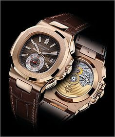Patek Philippe 5980R 18k Rose Gold Nautilus Chronograph Black/Brown Dial Leather