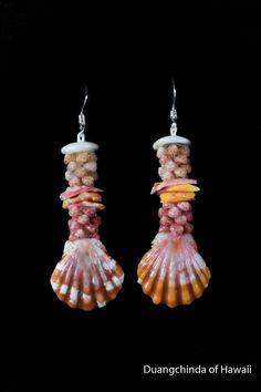 2 inches poe poe kahelelani shell earring with sunrise shell from Hawaii #DuangchindaofHawaii