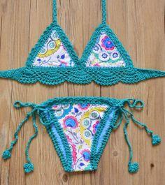 2aa1dcaef2a570 Sexy Handmade Crochet Bikini women crochet Swimsuit Brazilian biquini 2016  Crochet Swimwear Bathing Suit hot sale beach suit – Size  L