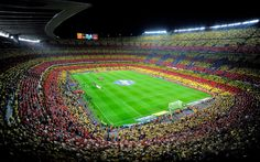 Camp Nou Barcelona Catalonia Flag Mosaic Wallpaper