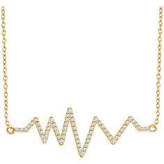 £400.96 14k Gold 18 Chain 1/6 CT Diamond Heartbeat by GoldnGlitzJewels
