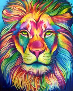 Rainbow Animals Paint By Number Kit/ DIY Digital Oil Painting on Canvas/Deer Tiger Elephant Lion Cat Wolf/Acrylic Painting/ Rainbow painting Giraffe Painting, Lion Painting, Oil Painting On Canvas, Lion Art, Colorful Animals, Colorful Animal Paintings, Arte Pop, Stretched Canvas Prints, Cool Artwork