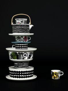 Beautiful dark image with a tower of Marimekko tableware  www.emma-b.nl for Marimekko servies / tableware