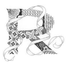 Zentangle®-Inspired Art - Tangled Alphabet - R
