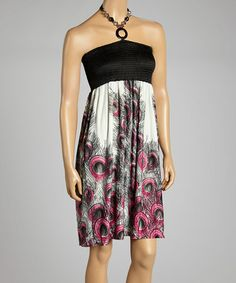 Another great find on #zulily! Pink Peacock Shirred Halter Dress #zulilyfinds