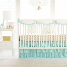 Our Gold Polka Dot in Mint Crib Collection is perfect for a gender neutral nursery! We love the way the aqua and gold complement each other in perfect harmony in this fun and bright nursery!