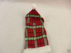 Dog or Cat Christmas Sweater With Hood Red Green And White Furry Trim XXSmall