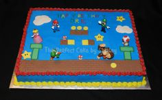 Super Mario sheet cake - Simple sheet cake using toy figures. Iced in buttercream, fondant decorations.Thanks to ziplynn for the inspiration!