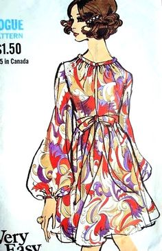 Rare 1960s VOGUE 7675 Vintage Sewing Pattern Mod High Waist Empire Baby Doll Style Dress Low Front Slit Neckline Perfect Cocktail Evening Dress Bust 34