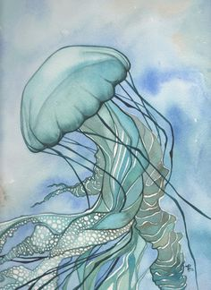 Whimsical Sea Nettle Jellyfish 4 x 6 print of hand painted detailed watercolour artwork in turquoise green blue earth tones. $5.00, via Etsy.