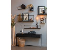 WOOOD Meert wall shelf 50 cm metal - black WOOOD Meert wall shelf 50 cm metal - Basic labeltake a look inside, sixties house Drachten, Scandinavian, living room, living & coA fireplace can . Navy Living Rooms, Room Paint Colors, Wall Shelves, Decoration, Wall Decor, Interior Design, House Styles, Home Decor, Office Inspo