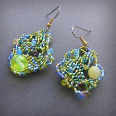 Freeform beaded earrings  seed bead jewelry by Anabel27shop, $15.00