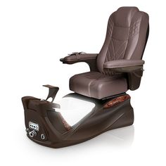 Infinity pedi-spa shown in Walnut Ultraleather cushion, Mocha base, Aurora LED Color-Changing bowl (shown in white)