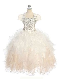Ivory/Champagne Exquisite All Over Crystal Sequin Bodice Pageant Dress with Bolero in Size Girls Sizes 3-16 in 5 Colors