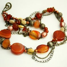 Carnelian Amber and Pearls Statement Necklace