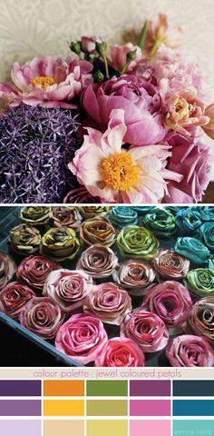 colour palette : jewel coloured petals - curated by Emma Lamb Scheme Color, Colour Pallette, Color Palate, Colour Schemes, Color Patterns, Color Combinations, Color Charts, Jewel Colors, Colours