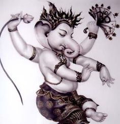 """Dancing Ganesha - Ganapati    Ganesha is worshipped as the lord of wisdom and success, beginnings and as the lord of defender and remover of obstacles, patron of arts and sciences. Ganesha is the lord with Elephant head. Ganesha elephant head has only one full tusk ,while other is broken. He said to have broke it to write The Mahabharat to the dictation of sage """"Vyasa""""."""