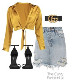 Untitled #982 by thecurvyfashionistaa on Polyvore featuring Boohoo, Ksubi, Yves Saint Laurent and Gucci