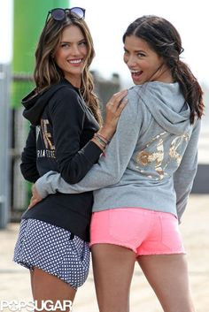 Brazilian Bombshells: Alessandra Ambrosio and Adriana Lima partnered up for a Victorias Secret photo shoot in LA on Thursday.