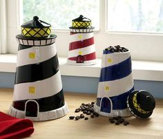 Too cute!!!!......Lighthouse Kitchen Decor | Lighthouse Decor Kitchen Canisters from Collections Etc.