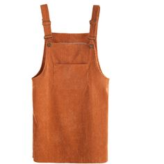 SheIn(sheinside) Khaki Corduroy Pinafore Dress With Pocket ($9.99) ❤ liked on Polyvore featuring dresses, khaki, sleeveless short dress, short-sleeve shift dresses, pinafore dress, pocket dress and stretch dress
