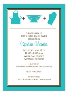 Prints Charming Digital Designs Turquoise Kitchen Silhouettes Invitation : #Bridal Shower Invitations Turquoise Kitchen, Red Kitchen, Bridal Shower Party, Bridal Shower Invitations, Kitchen Shower, All Themes, Here Comes The Bride, Crate And Barrel, Silhouettes