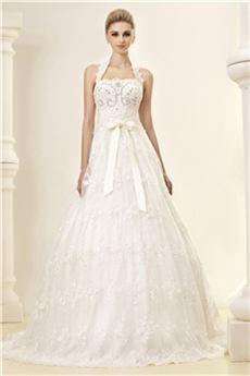 Gorgeous A-line Halter Floor-length Chapel Lace Dasha's Wedding Dress : Tidebuy.com