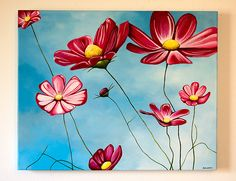 """SOLD: """"Flowers in the Air"""" original painting by Erica Eriksdotter. 16x20 inches."""