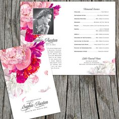 "Beautiful Soft Peonies Funeral or Memorial Program - Bulletin - Order of Service, 8.5"" x 11"" or A4"