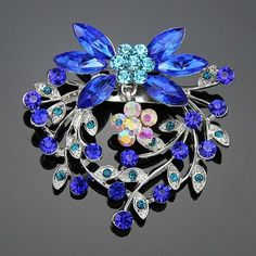 New Royal Blue Crystal Pearl Rhinestone Bridal Wedding Party Jewelry Brooch Pin #danbihuabi