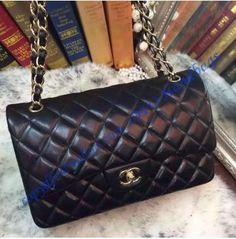 dd77b15cfabc Chanel Jumbo Classic Flap Bag in Black Lambskin with golden hardware Chanel  Bag Classic, Luxury