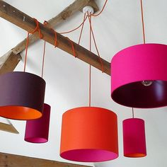 Stunning cluster of pick and mix shades hung with a 5 way multi pendant kit