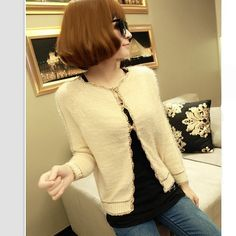 Vogue Mohair Knit Gold Side Short Cardigan Apricot i4815130
