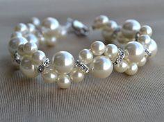 Bracelet de perles Ivoire, Bracelet de perles de verre, perle fleur Bracelet, Bracelet mariage, bracelet en cristal, Bracelet demoiselle d
