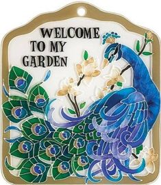 Inspirational Peacock-Decorative Hand-Painted Hanging-Tile, by Joan Baker Peacock Crafts, Peacock Decor, Peacock Bird, Peacock Colors, Peacock Theme, Peacock Room, Peacock Print, Peacock Design, Garden Tiles