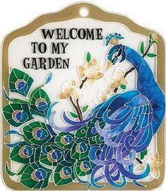 Peacock Garden Tile or Plaque $20.00 allthingspeacock.com - Peacock Garden Decor