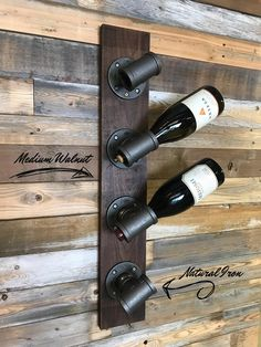 This unique custom wine rack is made of industrial iron pipe fittings using premium select walnut and cherry woods for the base. Industrial Wine Racks, Rustic Wine Racks, Farmhouse Wine Racks, Unique Wine Racks, Wine Rack Storage, Wine Rack Wall, Wine Bottle Rack, Dyi Wine Rack, Homemade Wine Racks
