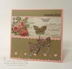 Card I made using my new Pink Paislee London Market papers.  Just love that!! Hand stamped by Debbie Seyer