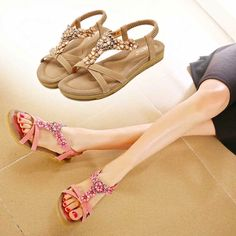 Key Account Summer Women Gladiator Sandals Women Shoes New Flip Flops Bohemia Flat Shoes Sandalias Mujer Ladies Shoes Cheap Sandals, Flat Sandals, Gladiator Sandals, Flat Shoes, China Fashion, Flower Fashion, Fashion Flats, Low Heels, Dame