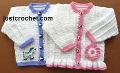 Free baby crochet pattern for his & hers cardigans http://www.justcrochet.com/boy-girl-cardigans-usa.html #justcrochet
