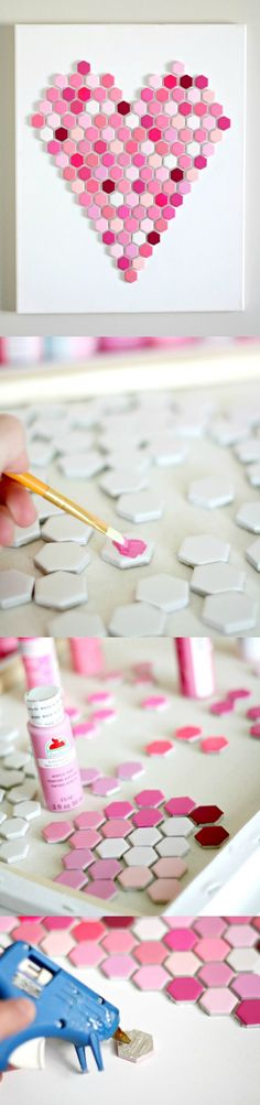 Create this unique heart art with those basic hexagon tiles found at the home improvement store. Make any design with your favorite paint colors. So easy!