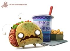 Daily Paint #1063. Zombie Taco by Cryptid-Creations Time-lapse, high-res and WIP sketches of my art available on Patreon (: