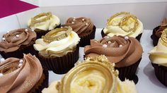 Chocolate and vanilla cupcakes with gold frames