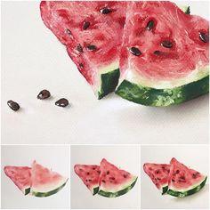 Немного арбузного процесса #пастель #арт #арбуз #фрукты #softpastel #softpastels #canson #cansonpaper #watermelon #art_spotlight